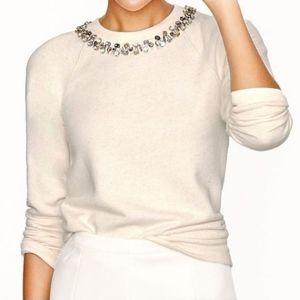 J. Crew Necklace sweatshirt oatmeal jeweled neck s